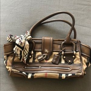BURBERRY LEATHER & CLOTH SHOULDER BAG